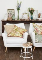 Floral armchairs