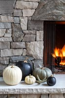 Stone fireplace detail