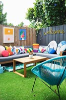 Colourful furniture in garden