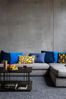 Concrete walls in contemporary living room