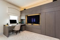 Large television in home office