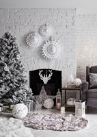 White painted living room at Christmas