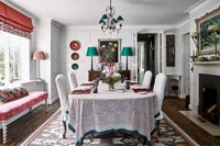 Red and white country dining room
