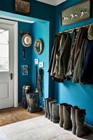 Blue painted country hallway
