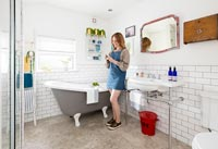 Modern-meets-vintage bathroom makeover feature