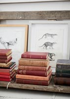 Vintage books and paintings