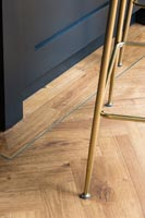 Detail of barstool legs on modern parquet floor