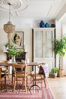 Dining room with period details and retro furniture