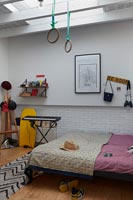 Childrens room with exercise equipment and keyboard