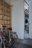 Bicycles in industrial hallway