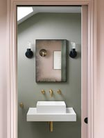 Modern bathroom sink and mirror