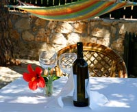 Tablecloth and bottle of wine on small garden table shaded by trees with hammock