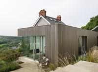 Modern extension on country house with scenic views
