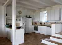 Rustic white painted country kitchen