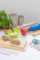 Tools and materials for making an indoor hanging plant shelf