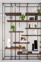 Metal and wooden shelving unit