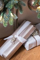 Detail of wrapped Christmas gifts