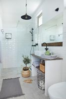 White and wood modern country bathroom
