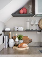 Kitchen shelves and worktop detail