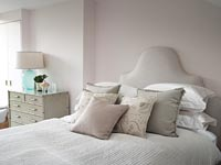 Modern bedroom decorated in muted neutral tones
