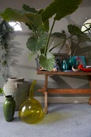 Houseplants on wooden bench and collection of vases and pots