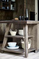 Modern wooden kitchen island shelving