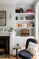 Built-in bookshelves in modern living room