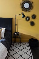 Black and yellow modern bedroom