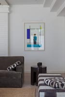 Modern artwork on living room wall