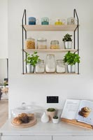 Shelving above kitchen worktop