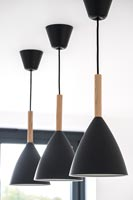 detail of black pendant lights