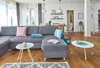 Blue and pink accessories in modern open plan living space