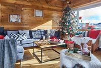 Modern country living room decorated for Christmas