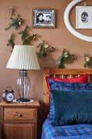 Modern country bedroom decorated for Christmas