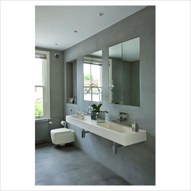 Slate Bathroom Sink : - Modern bathroom with wall mounted double stone sink in grey slate ...