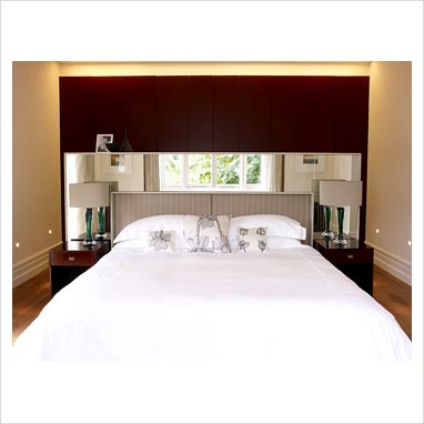 GAP Interiors - Modern bedroom with mirror above headboard - Picture ...