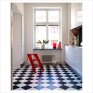 Gap interiors modern white kitchen with checkered black for White kitchen vinyl floor