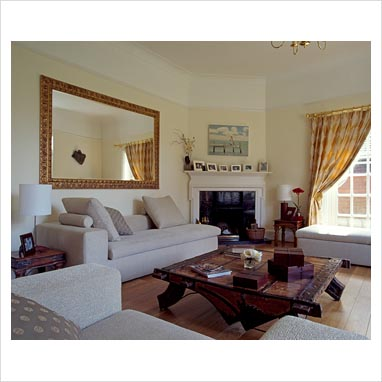 gap interiors classic living room with large mirror