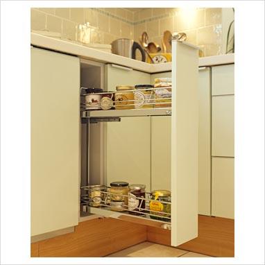 gap interiors jars on sliding shelf in modern kitchen. Black Bedroom Furniture Sets. Home Design Ideas