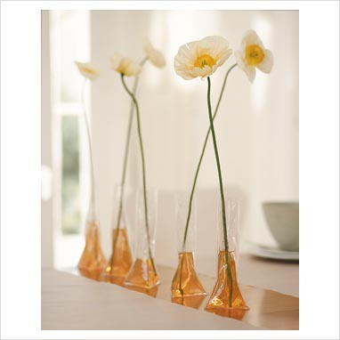 GAP Interiors - Flowers with plastic bags as vases in a row - Picture library ...
