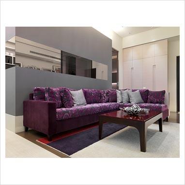 Gap Interiors Purple Sectional Sofa In Modern Living
