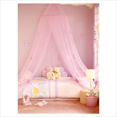 Hot Pink Bed Canopy with Pink Velvet - Mosquito Nets 4U