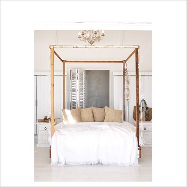 Gap Interiors Modern Bedroom With Wooden Four Poster Bed
