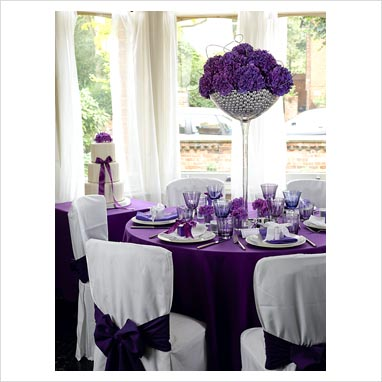 Wedding Reception Modern Contemporary Purple White Celebrations Decorations
