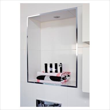 Gap interiors alcove shelf in modern bathroom picture for Bathroom alcove shelves