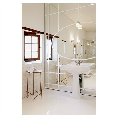 Bathroom Wall Mirror on Gap Interiors   Modern Bathroom Sink And Feature Mirror Wall   Picture