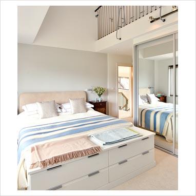 GAP Interiors Modern Bedroom With Mezzanine Floor Above