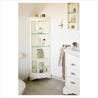gap interiors corner shelf unit in white classic bathroom picture