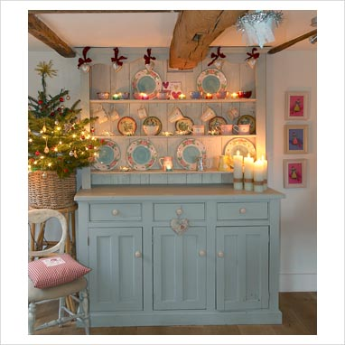 GAP Interiors Dresser In Country Dining Room At Christmas Picture Library