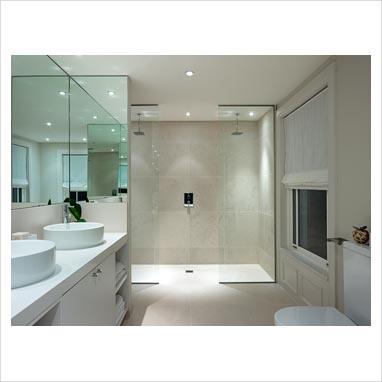 Gap interiors modern bathroom with double shower for Bathroom ideas double shower